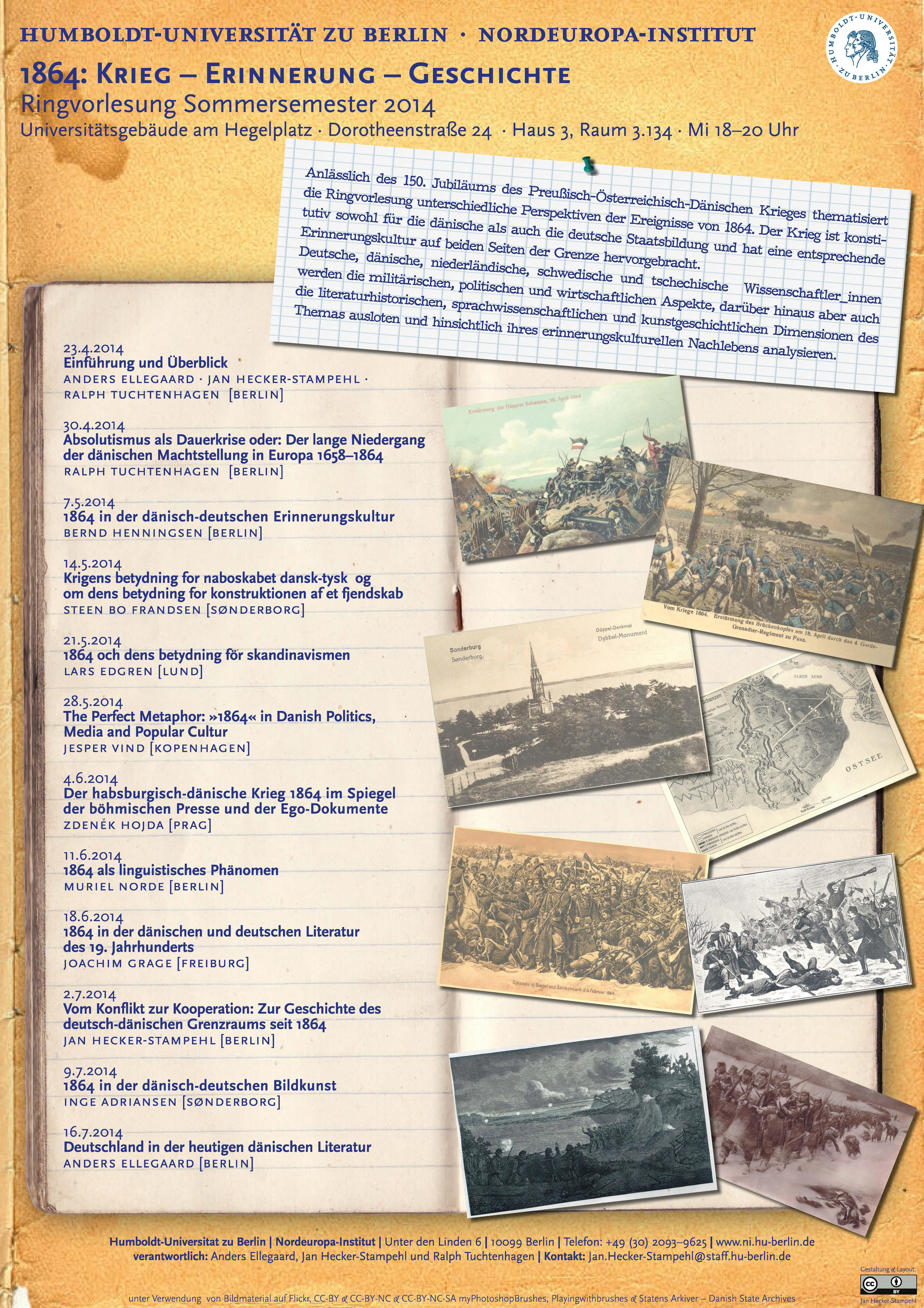 Ringvorlesung 1864 – Krieg, Erinnerung, Geschichte 2014