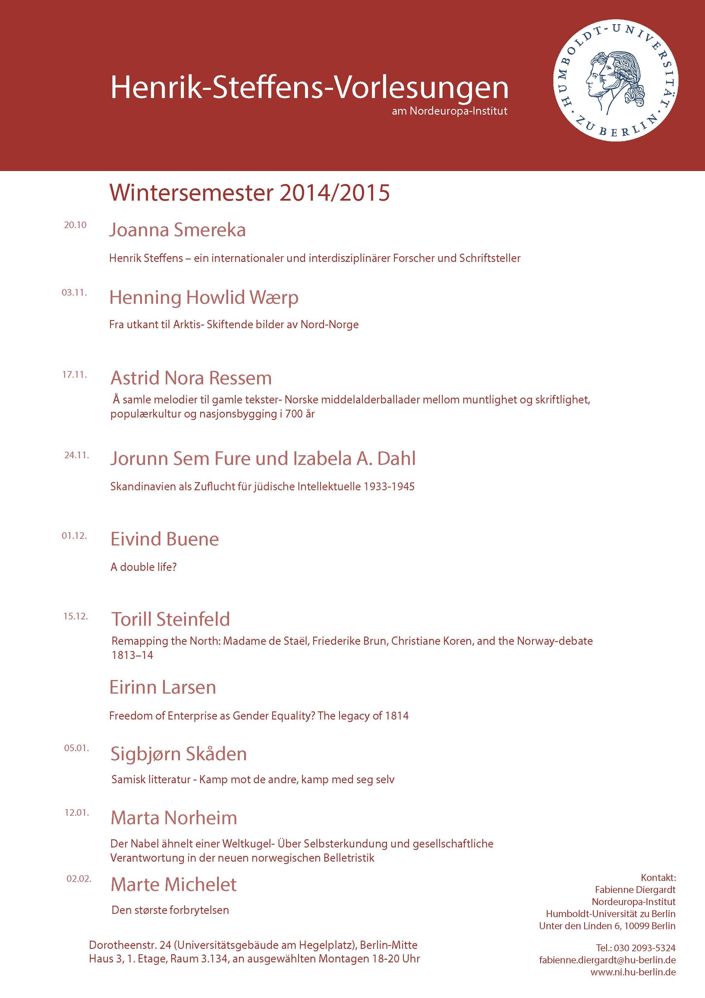 Henrik-Steffens-Vorlesungen 2014